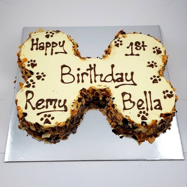 large bone carob dog birthday cake