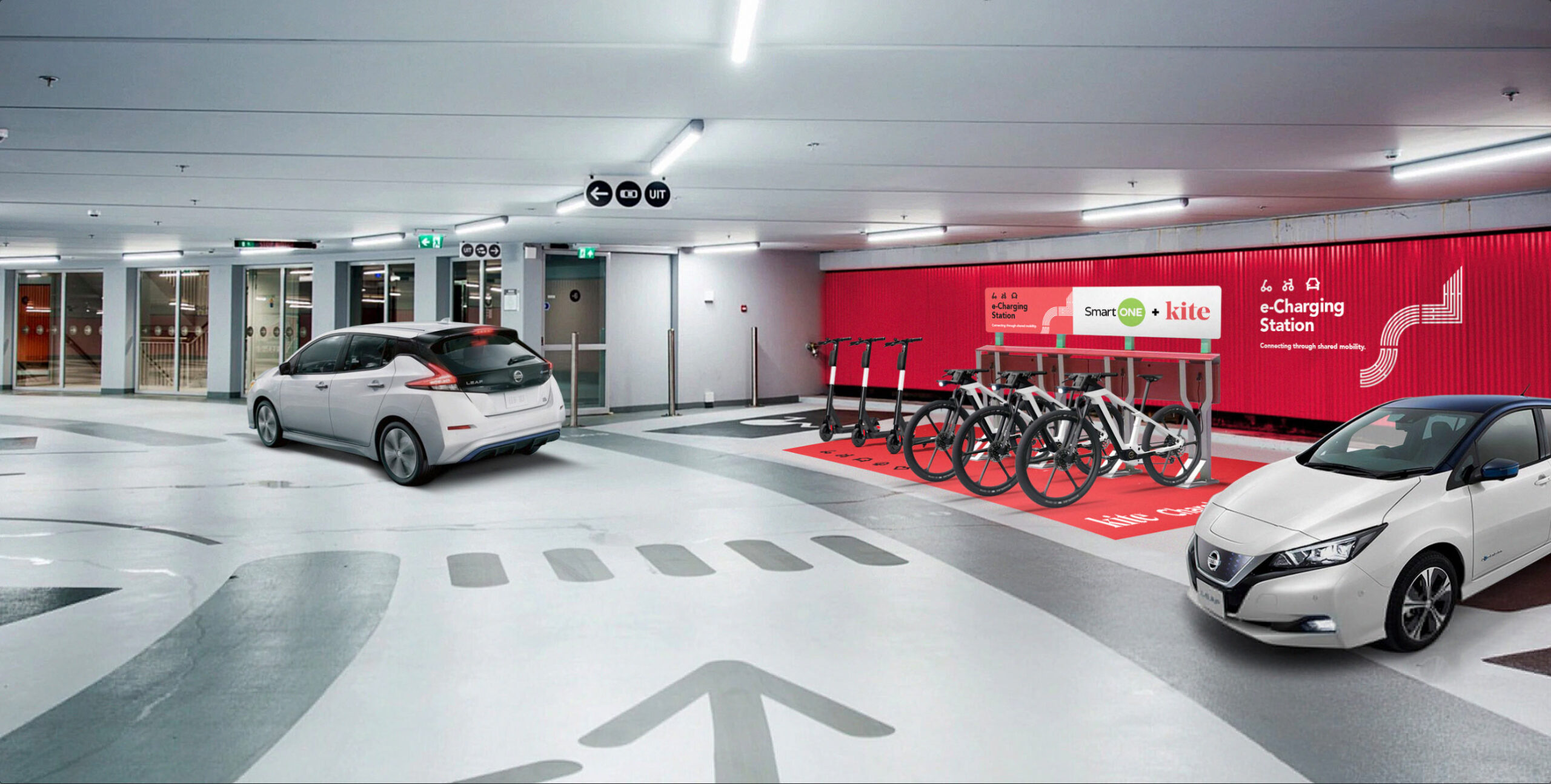 Parking garage Kite Mobility electric vehicle station