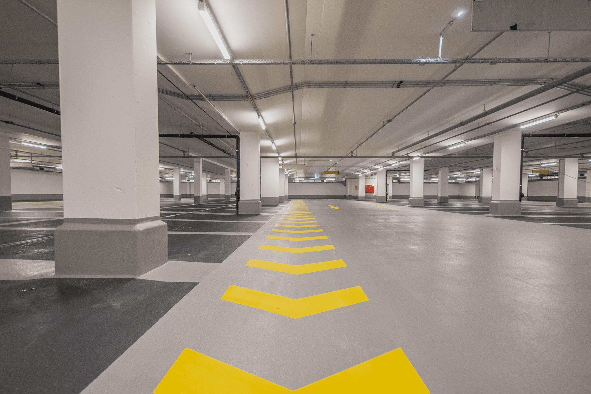 Empty parking garage with no vehicles