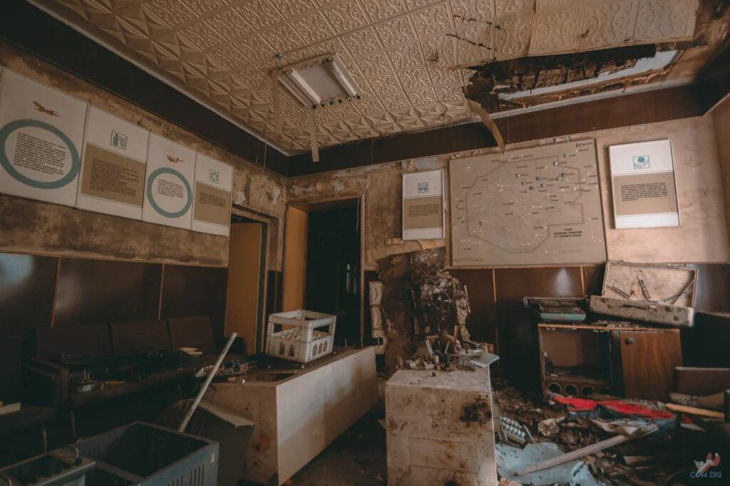 Photos from inside of the abandoned main building of Russian Turlatovo Airport