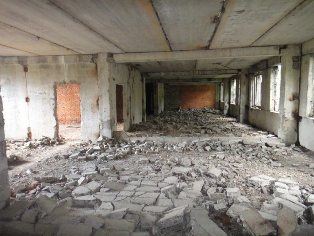 Abandoned and unfinished administrative building in Moscow forest