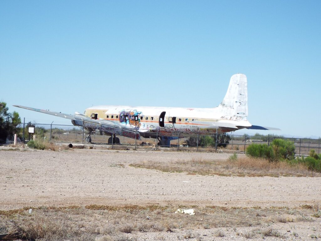 Abandoned DC-4 in the Gila River Memorial Airport, an abandoned airport located in the Gila River Indian Reservation near the town of Chandler