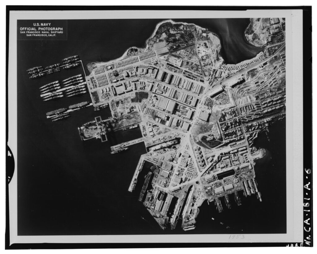 Aerial view of the Hunters Point Naval Shipyard