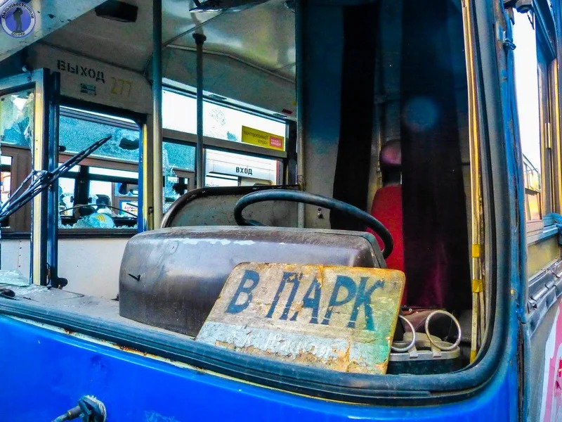 Rusty and abandoned public transit buses in Khabarovsk