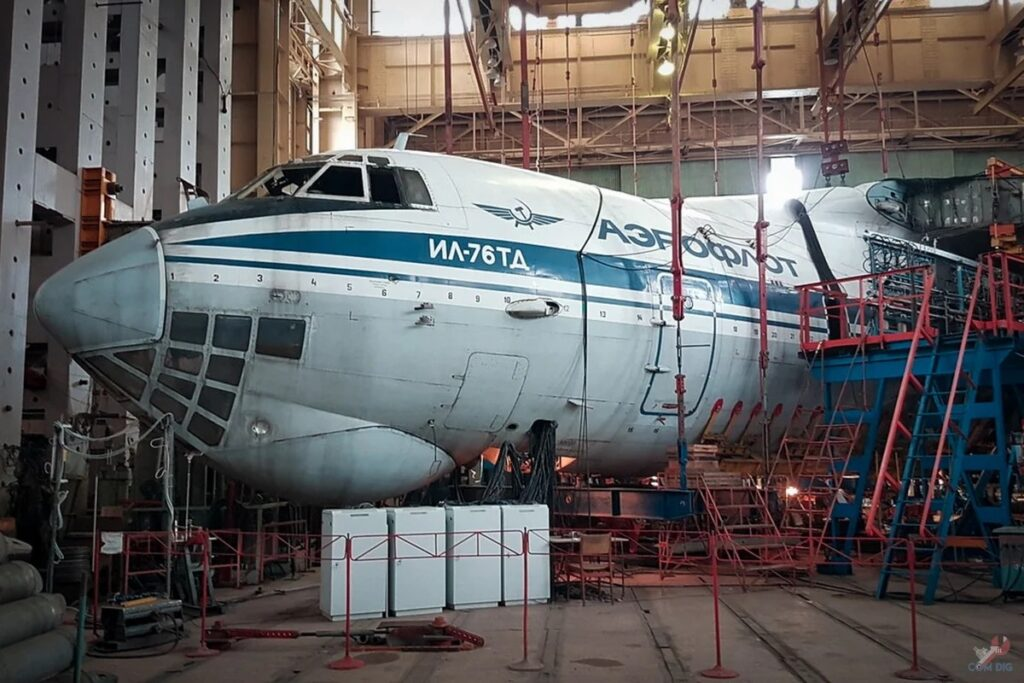 Inside the closed workshop of Ilyushin Il-76 aircrafts