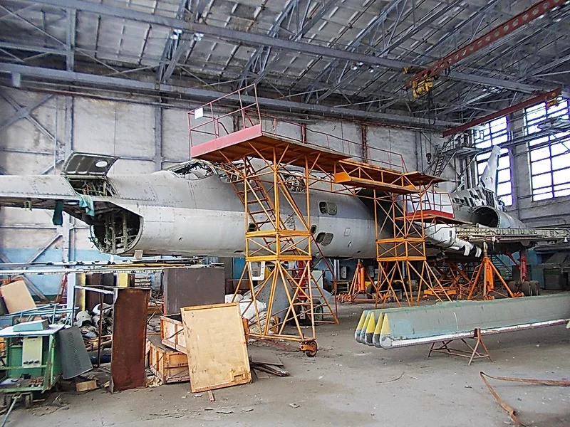 Supersonic bomber Tupolev Tu-22M in the abandoned hangar