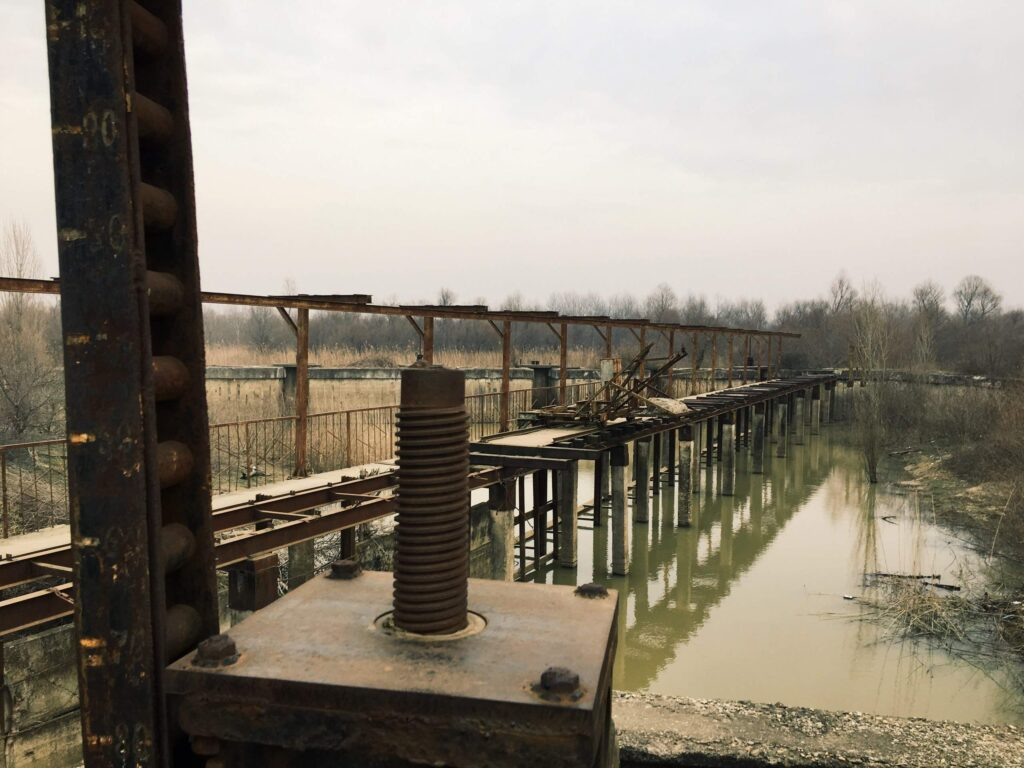 Abandoned gateways of the Afipsip rice irrigation system, Russia