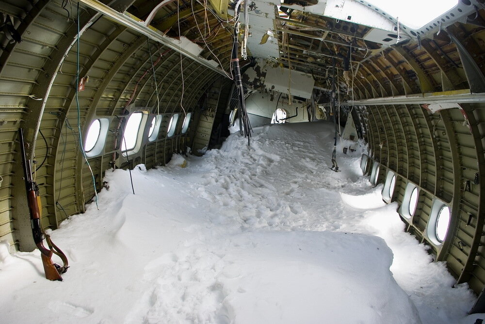 Abandoned Soviet AN-12 Aircraft on Graham Bell Island in the Arctic Ocean