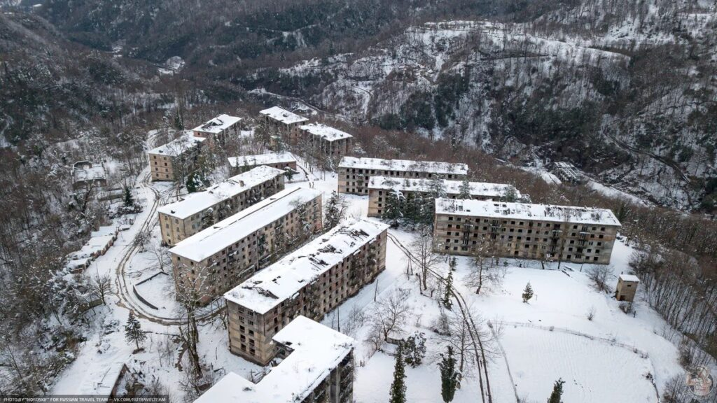 Polyana Ghost Town in the snowy mountains of Abkhazia