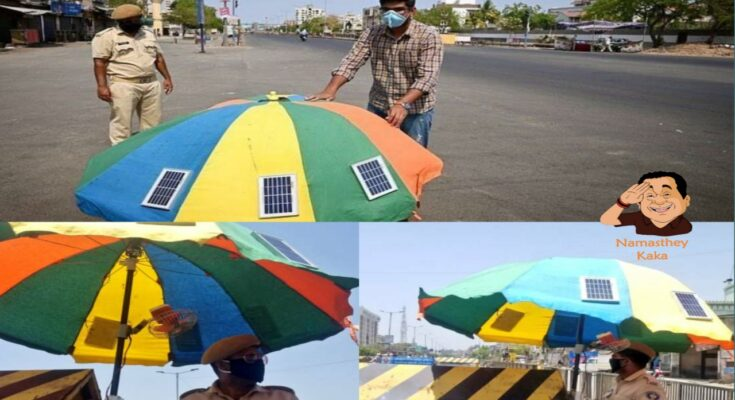Adib Mansuri, a young Mechanical Engineer developed a Solar Umbrella for Police