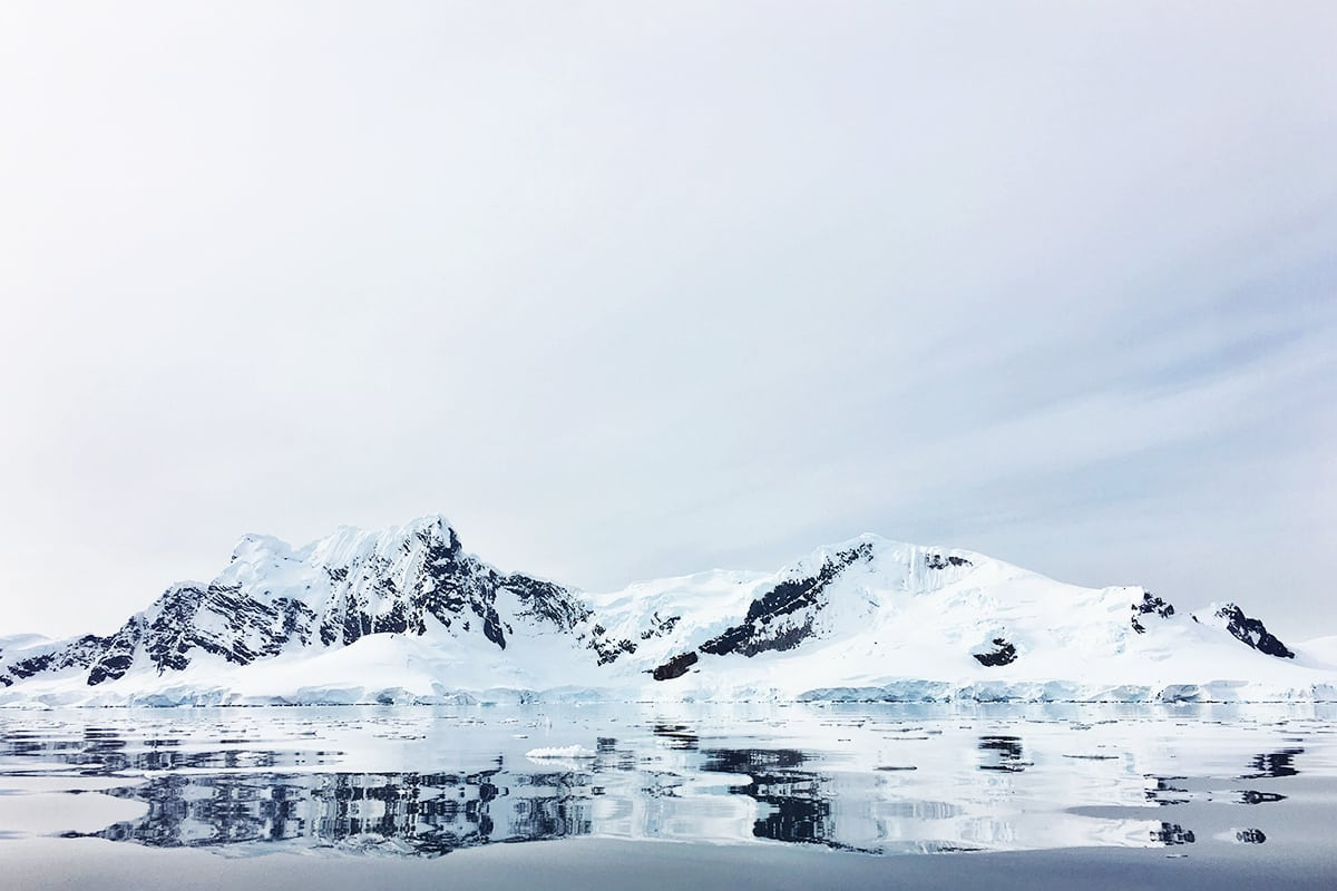 Snow covered mountains of Antarctica