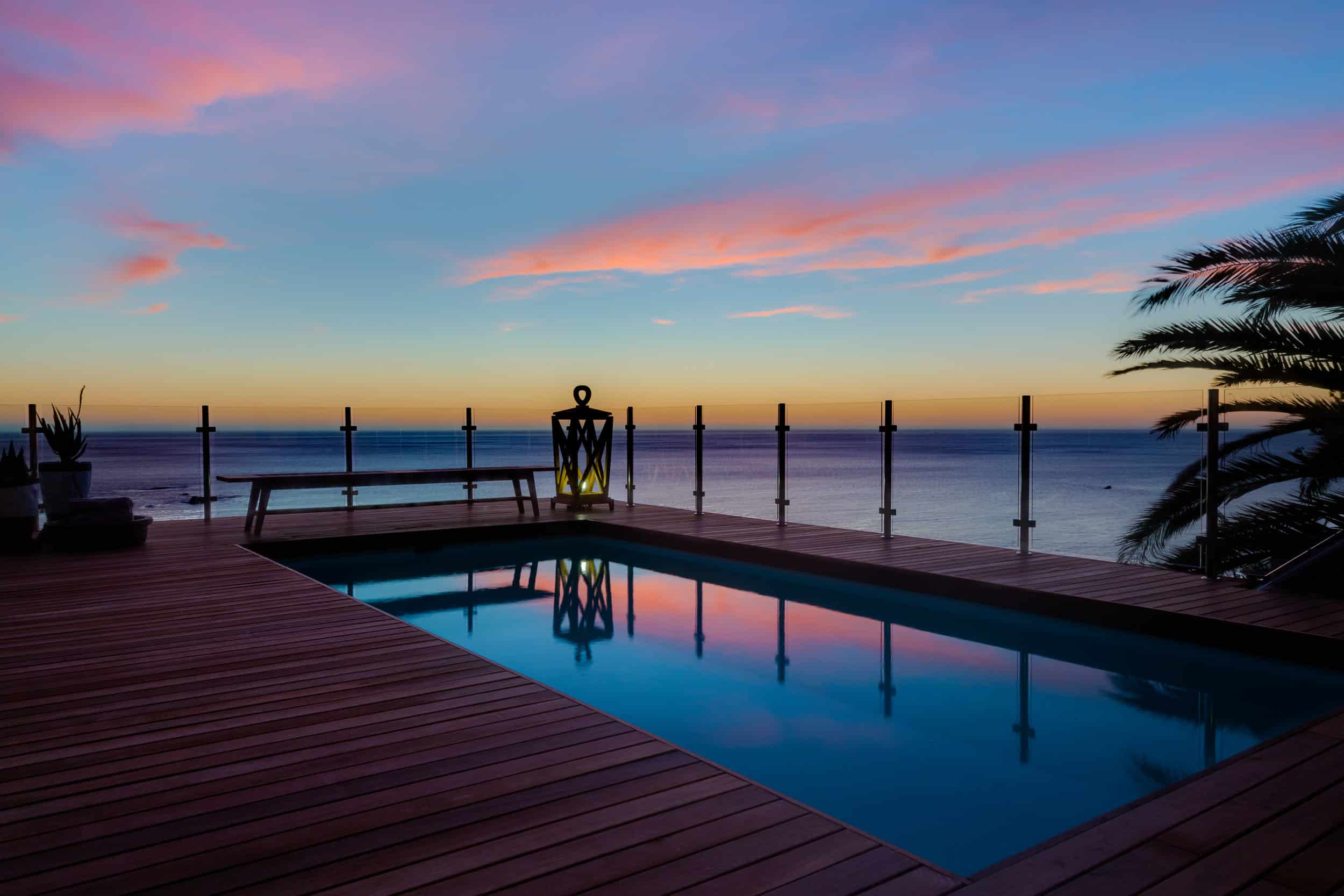 pool view during sunset at Cape View Clifton South Africa