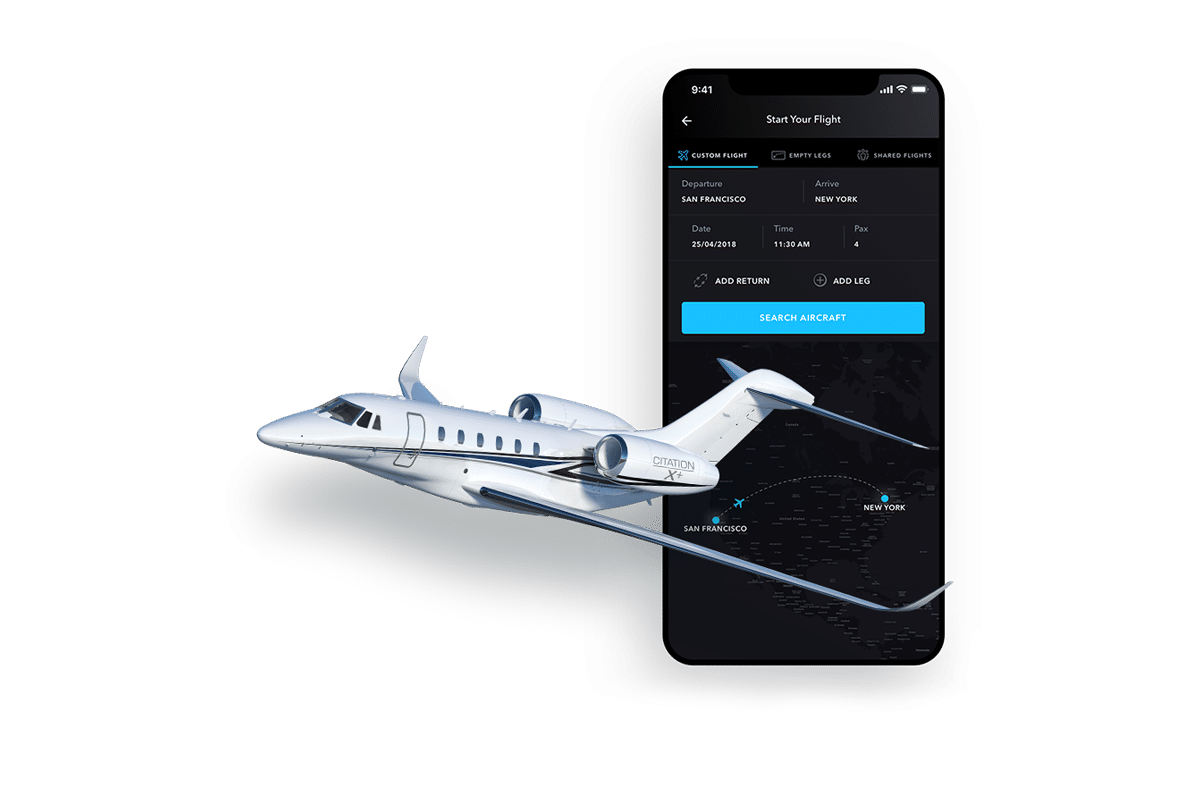 private jet booking app with Citation X jet