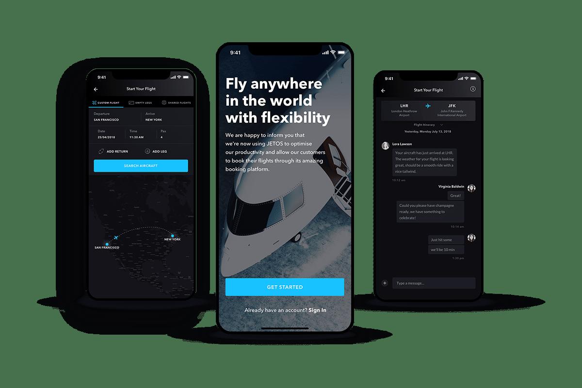 three screen shots of Avian Jets booking app
