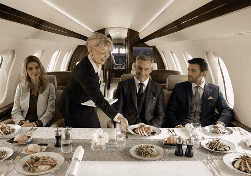 dinning on private jet