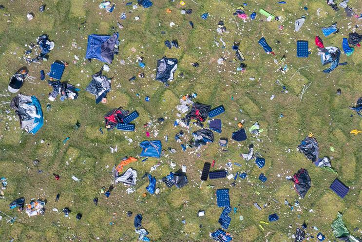 Camping equipment and rubbish left behind at Boomtown Fair in 2019