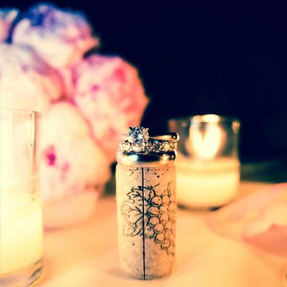 Wedding rings on top of wine cork