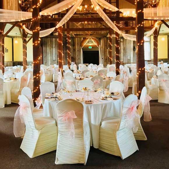 Wedding hall reception in rustic Laurel Highlands