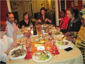 IVLP Visitors at dinner in a host home
