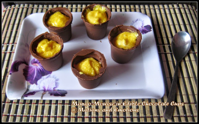 Mango Mousse in Chocolate Cups