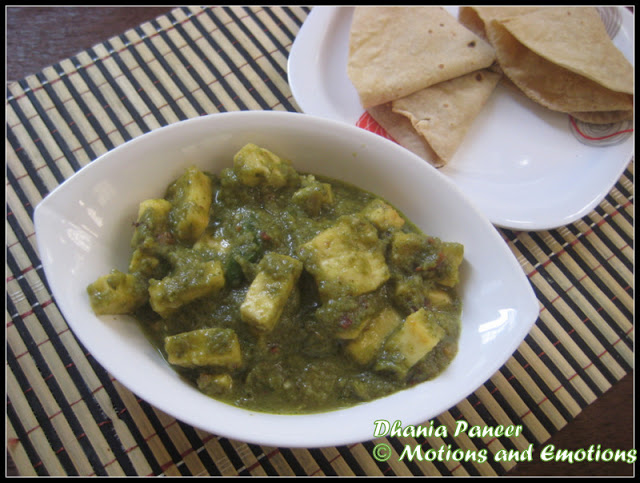 Dhania Paneer/ Coriander flavoured Cottage Cheese