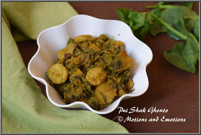 Pui Shak Ghonto / Malabar Spinach and Vegetable Mishmash