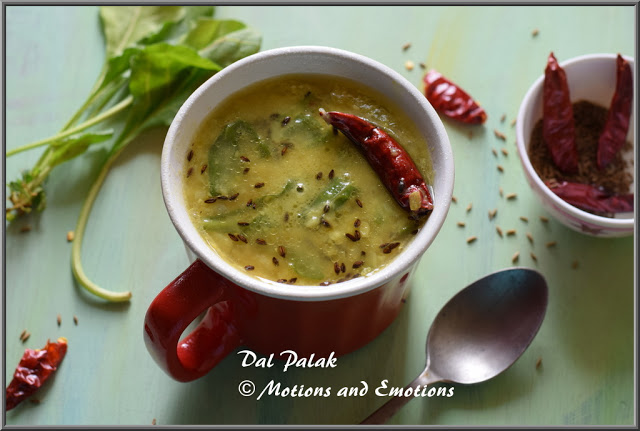 Dal Palak or Palak Dal or Spinach in Split Green Gram Skinless