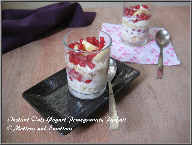 Instant Oats Yogurt and Pomegranate Parfait