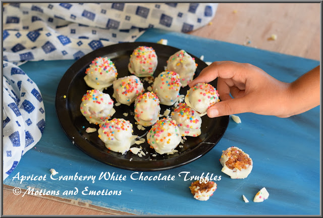 Apricot Cranberry and White Chocolate Truffles