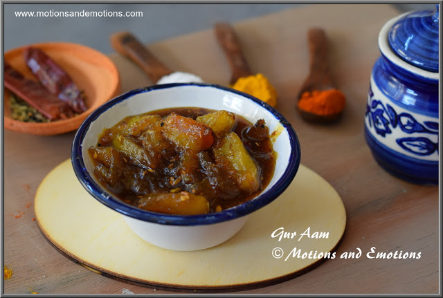 Gur Aam or Bengali style Sweet and Tangy Mango Pickle Recipe