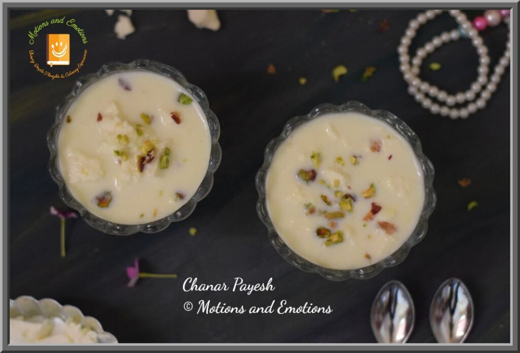 Top view of Chanar payesh in two dessert bowls