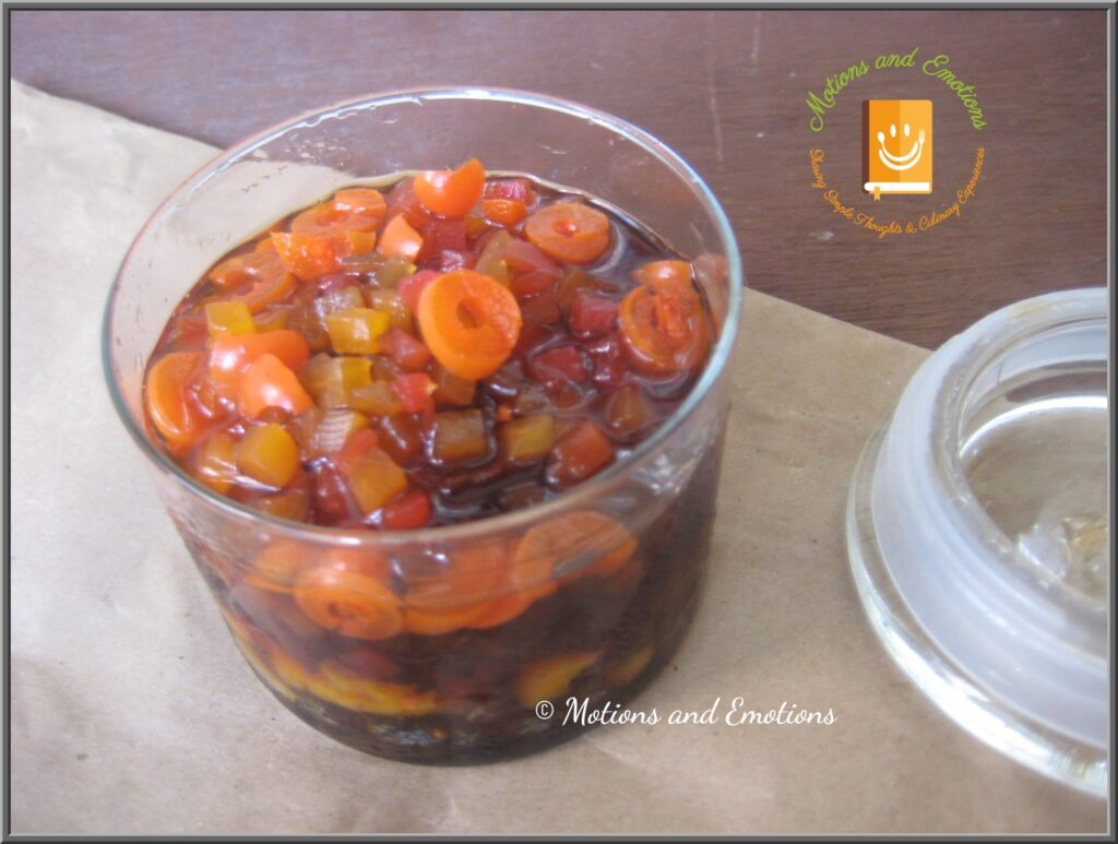 Soaked dried fruits in a glass jar