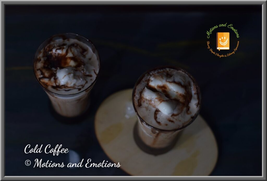Cold Coffee topped with ice-cream top view