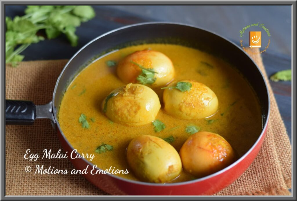 Egg malai curry in a pan close view
