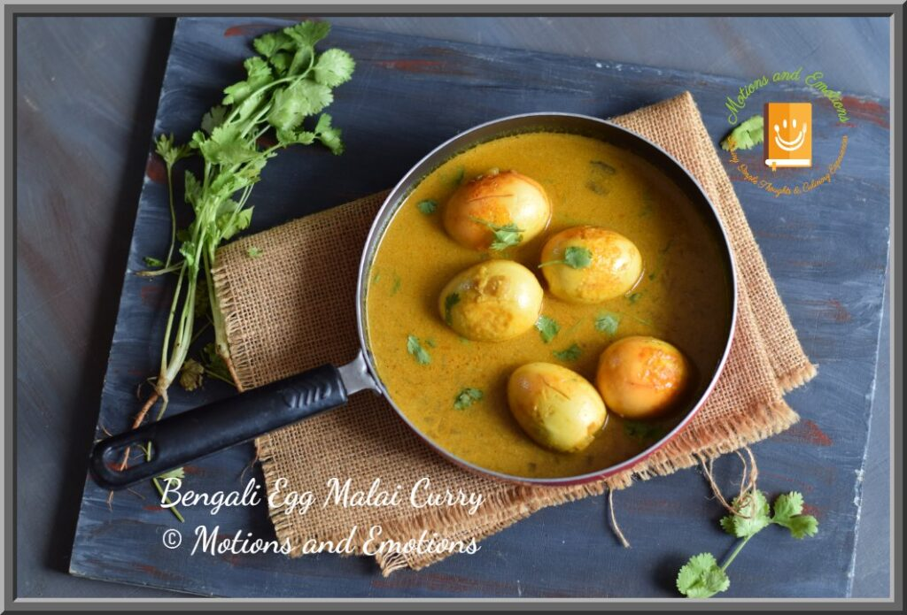 Egg malai curry in a pan
