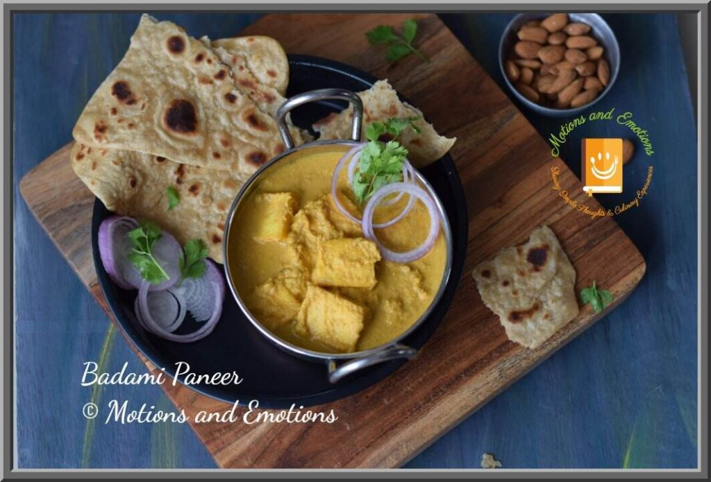 Badami Paneer served with paratha top view