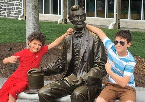 Marcus and Bryce with President Lincoln