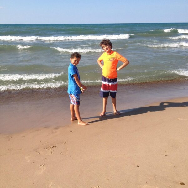 Marcus and Bryce Taking a Dip in lake Michigan