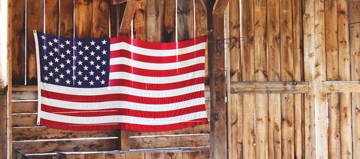 American Flag in barn