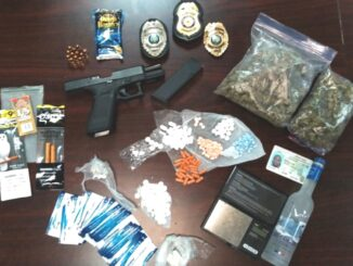 Drugs, paraphernalia nd this stolen Glock 45 were seized during an arrest Thursday in Whiteville.