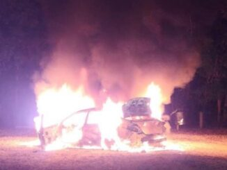 The owner of this vehicle was taken into custody after he allegedly set fire to the vehicle Monday at Lake Waccamaw. (Courtesy of LWPD)