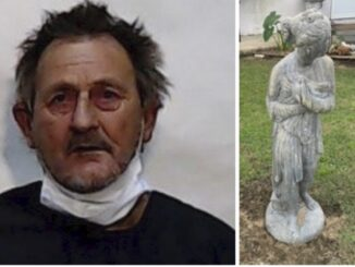 Frank Phillips and one of the statues he is alleged to have stolen. (courtesy CCSO)