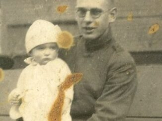 The writer's father and grandfather, Thomas Weaver and Tom, on Thomas' return from World War I.