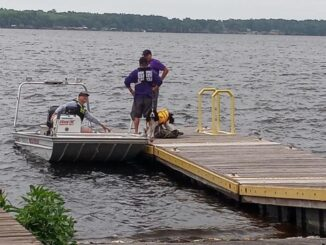 Search teams from three counties, along with a Highway Patrol helicopter and volunteers, scoured the southern end of the lake looking for the victim.