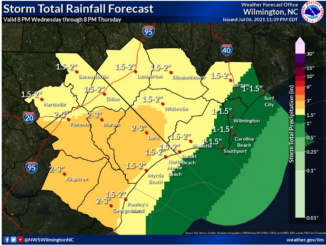 Estimated rainfall amounts as of Wednesday morning. (NWS graphic)