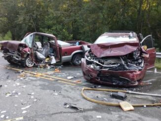 Three people were injured after this crash Tuesday.