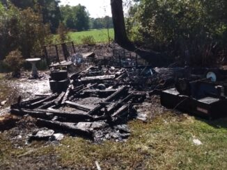The blaze destroyed this outbuilding near a home in Wooded Acres Friday (today).