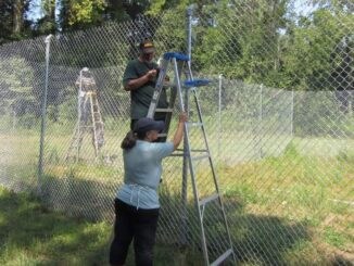 Volunteers spent the Sept. 11 working on new fences at the wildcat rescue. (submitted photo)