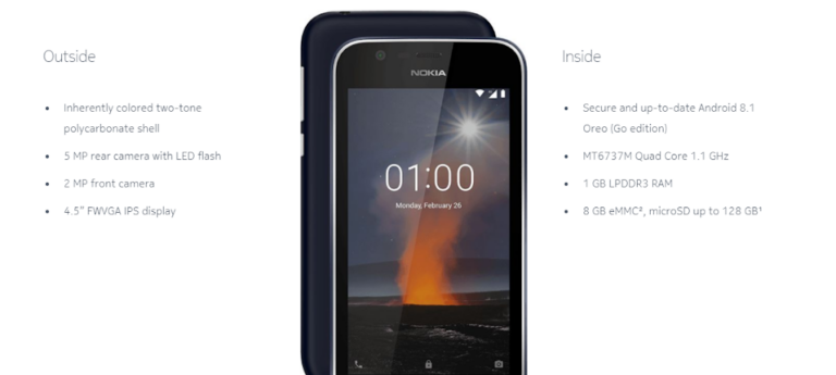 Nokia 1 Android Go Smartphone launched in India at Rs.5,499