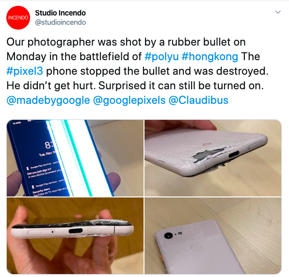 Google Pixel 3 XL takes a bullet and saved a photographer in Hong Kong